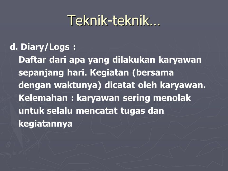 Teknik-teknik… d. Diary/Logs : Daftar dari apa yang dilakukan karyawan