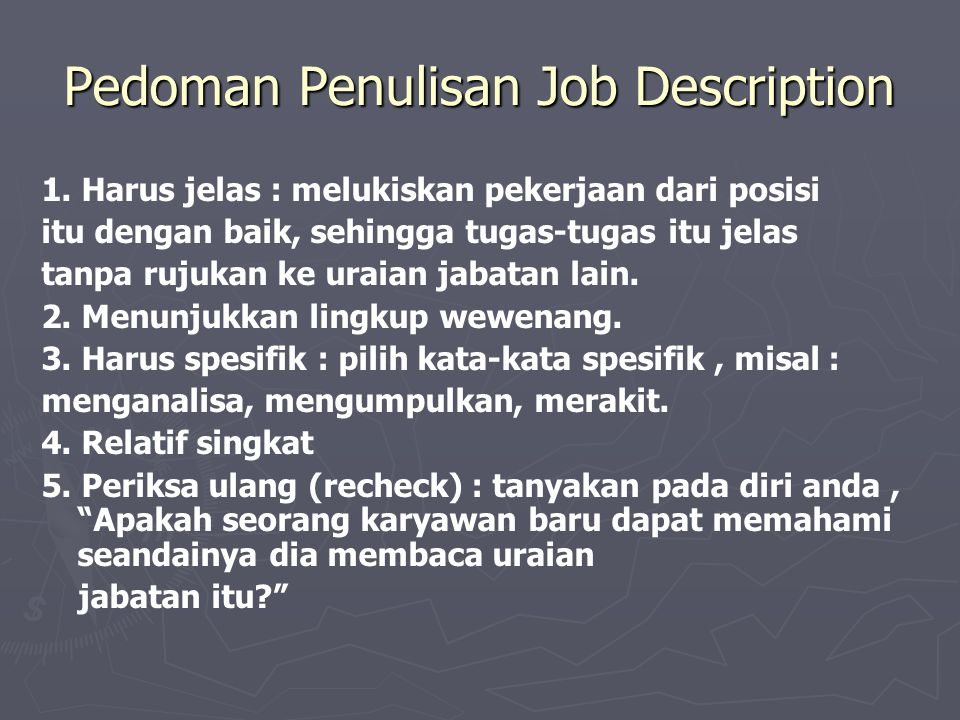Pedoman Penulisan Job Description
