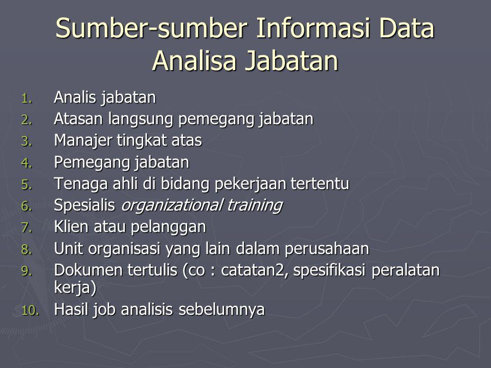 Sumber-sumber Informasi Data Analisa Jabatan