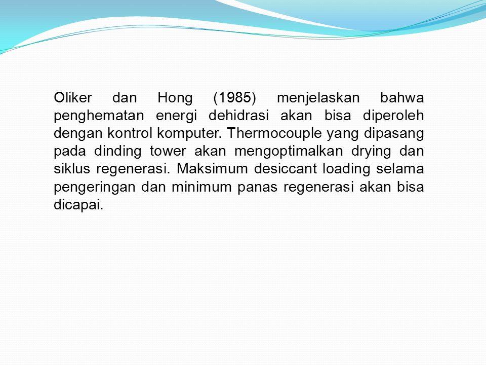 Oliker dan Hong (1985) menjelaskan bahwa penghematan energi dehidrasi akan bisa diperoleh dengan kontrol komputer.