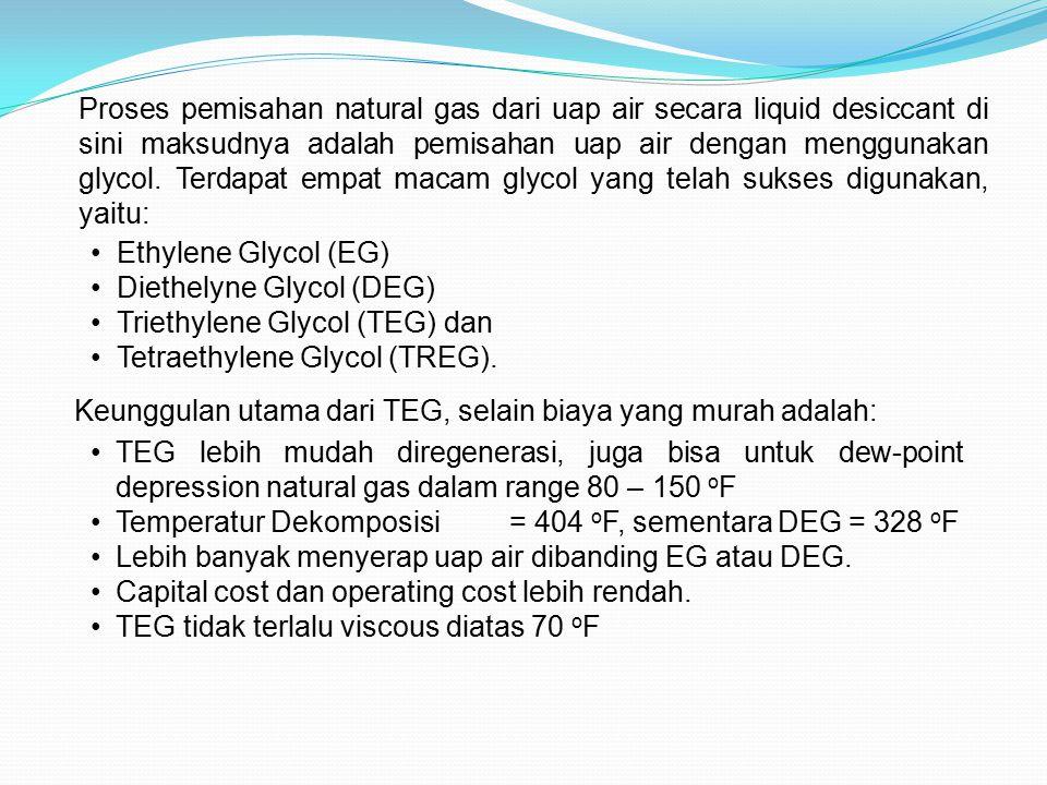 Proses pemisahan natural gas dari uap air secara liquid desiccant di sini maksudnya adalah pemisahan uap air dengan menggunakan glycol. Terdapat empat macam glycol yang telah sukses digunakan, yaitu: