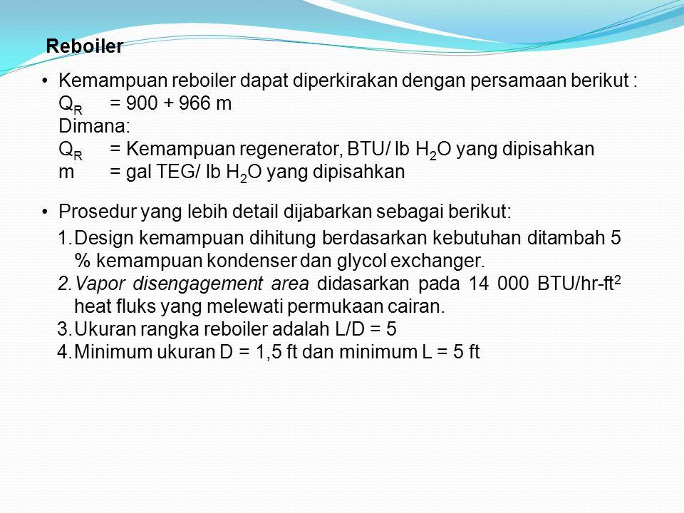 Reboiler Kemampuan reboiler dapat diperkirakan dengan persamaan berikut : QR = 900 + 966 m. Dimana: