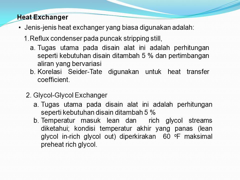 Heat Exchanger Jenis-jenis heat exchanger yang biasa digunakan adalah: Reflux condenser pada puncak stripping still,