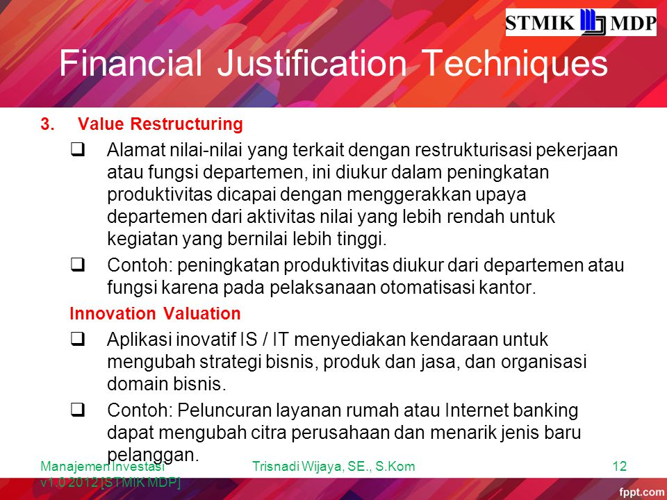 Financial Justification Techniques