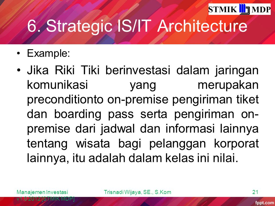 6. Strategic IS/IT Architecture