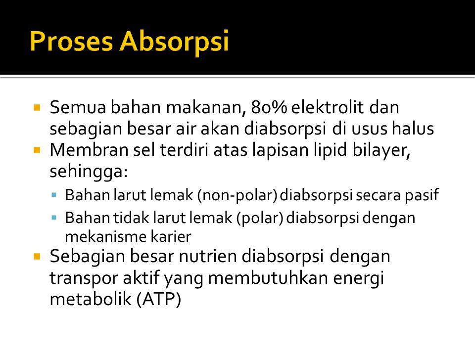 Proses Absorpsi Semua bahan makanan, 80% elektrolit dan sebagian besar air akan diabsorpsi di usus halus.