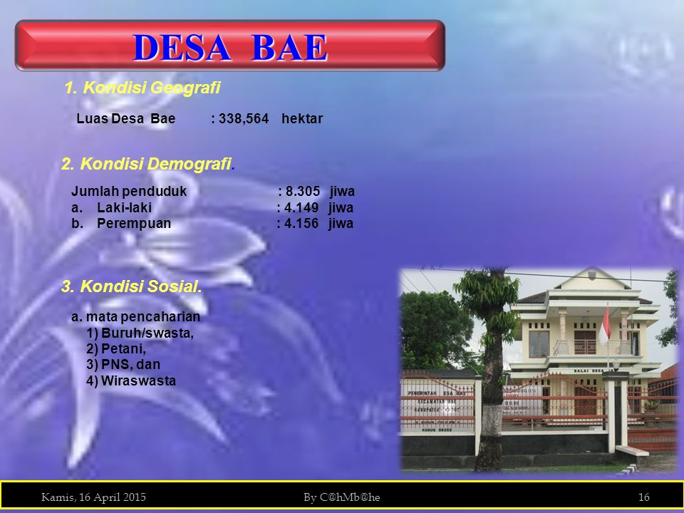 DESA BAE 1. Kondisi Geografi 2. Kondisi Demografi. 3. Kondisi Sosial.