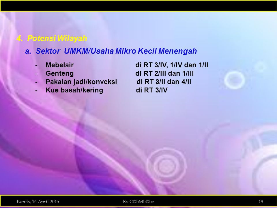 a. Sektor UMKM/Usaha Mikro Kecil Menengah