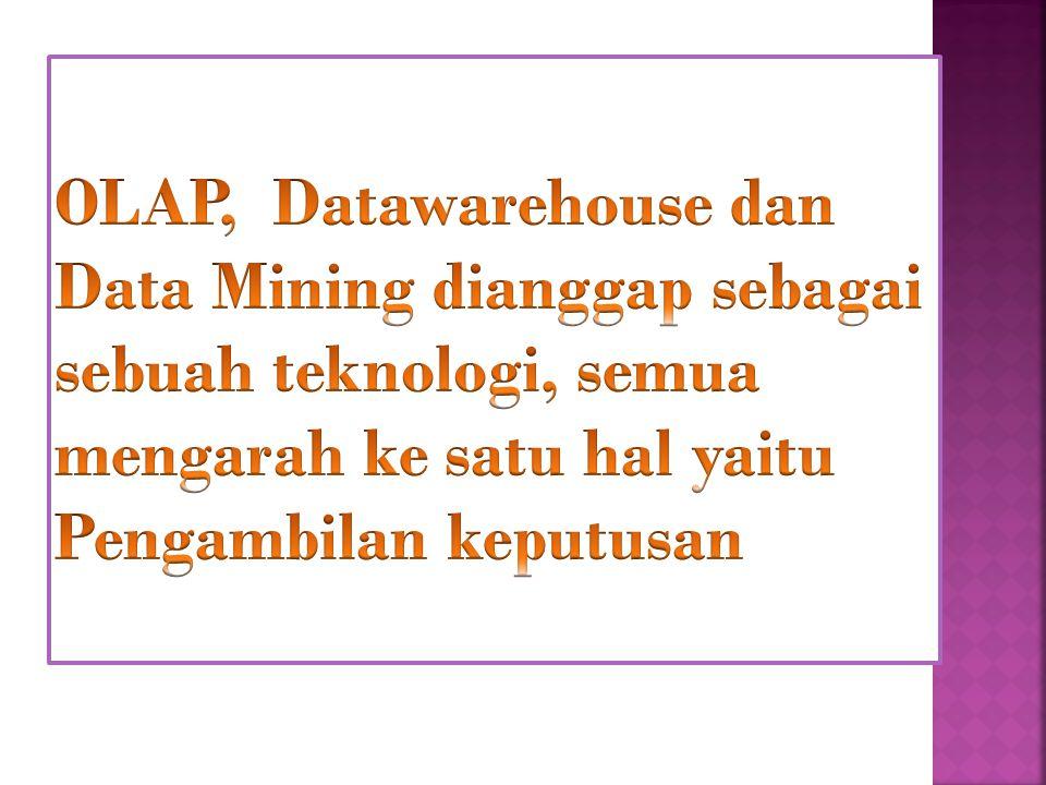 OLAP, Datawarehouse dan Data Mining dianggap sebagai sebuah teknologi, semua mengarah ke satu hal yaitu Pengambilan keputusan