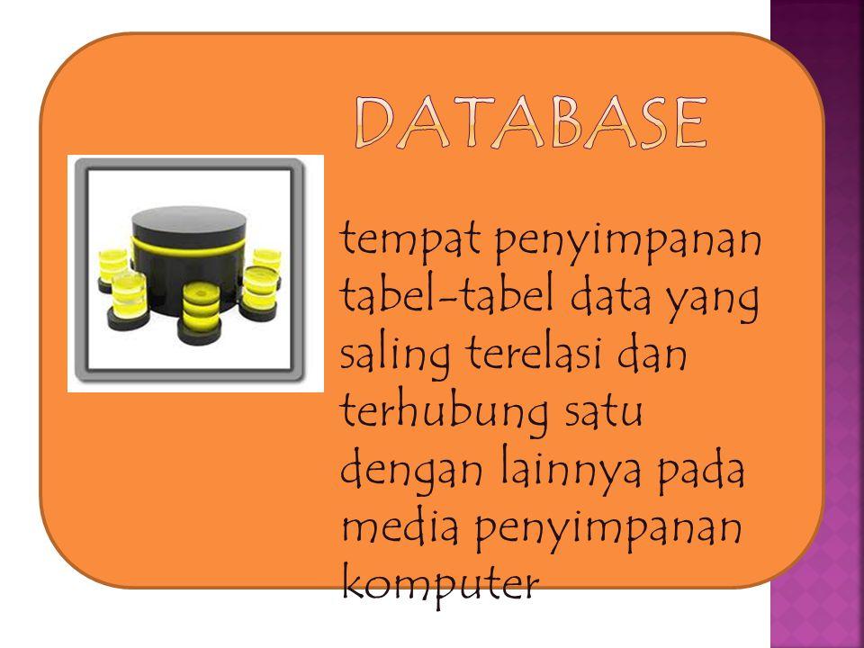 DATABASE tempat penyimpanan tabel-tabel data yang saling terelasi dan terhubung satu dengan lainnya pada media penyimpanan komputer.