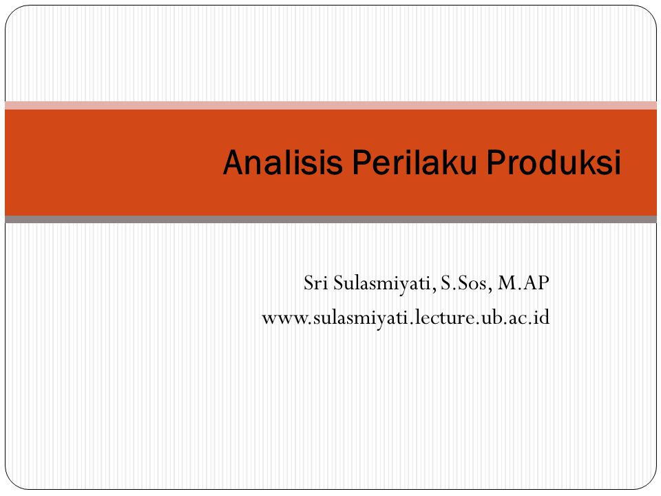 Analisis Perilaku Produksi