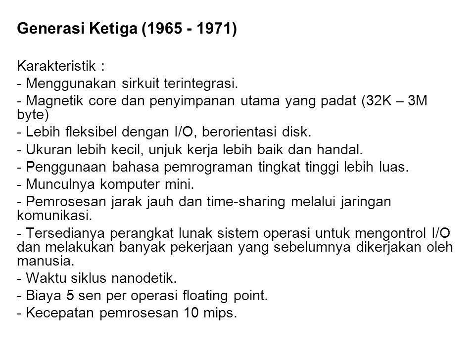 Generasi Ketiga (1965 - 1971) Karakteristik :