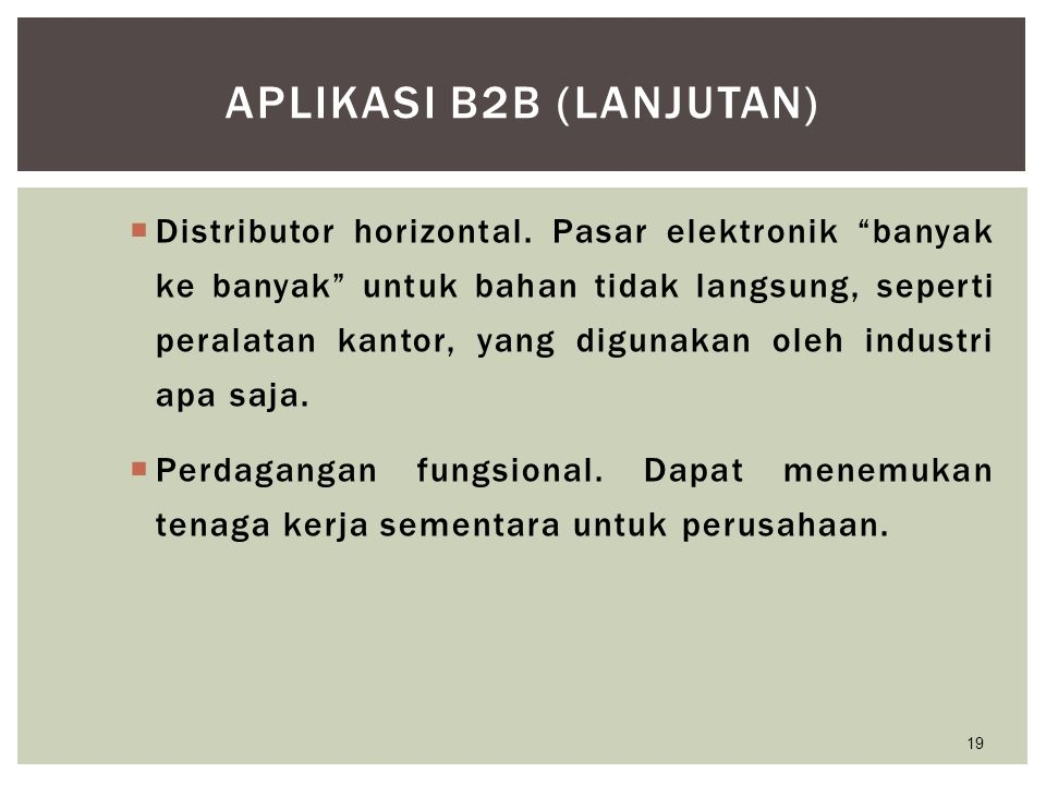 Aplikasi B2B (lanjutan)