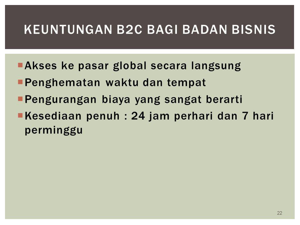 Keuntungan b2c bagi badan bisnis