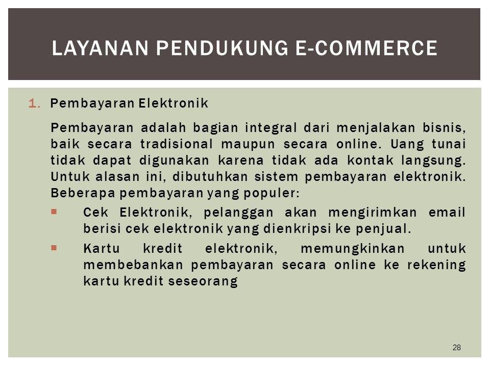 Layanan Pendukung E-Commerce