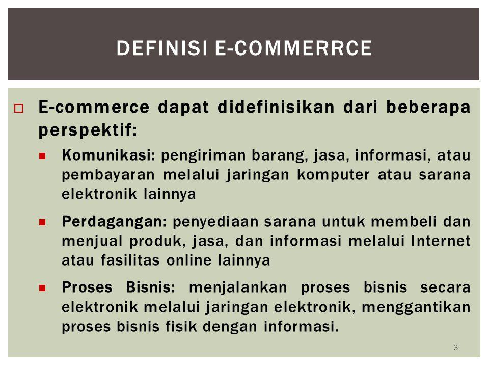 Definisi e-commerrce E-commerce dapat didefinisikan dari beberapa perspektif:
