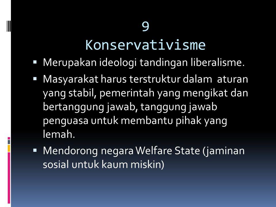 9 Konservativisme Merupakan ideologi tandingan liberalisme.