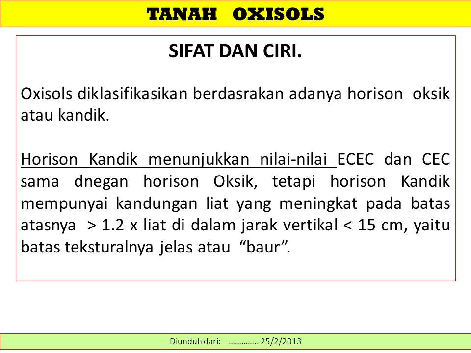 SIFAT DAN CIRI. TANAH OXISOLS