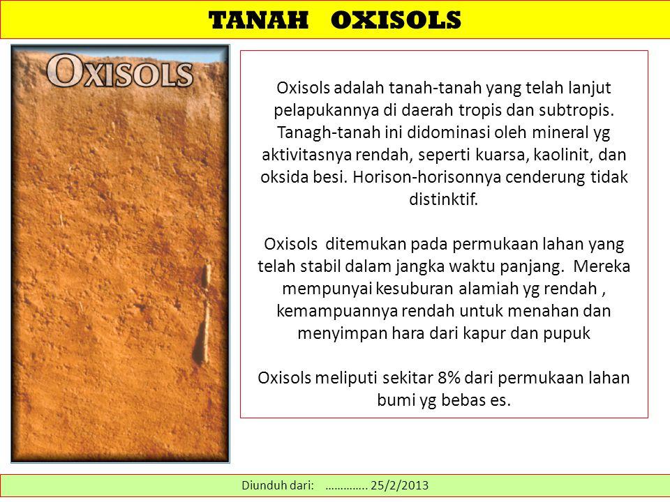 Oxisols meliputi sekitar 8% dari permukaan lahan bumi yg bebas es.