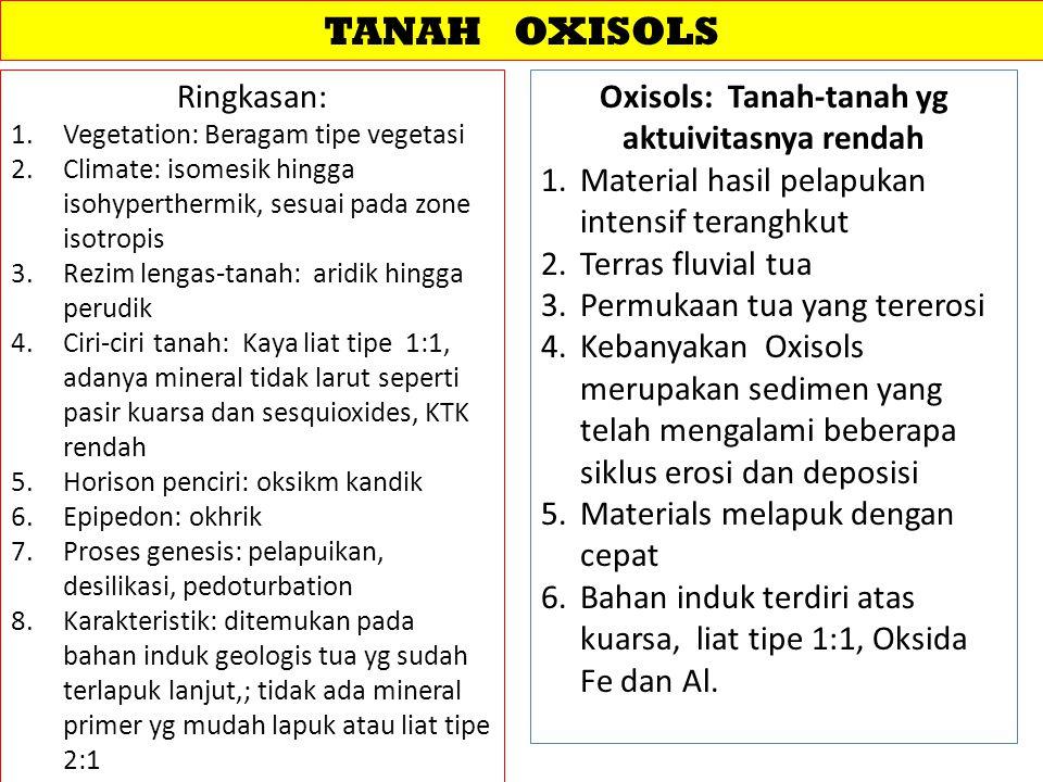 Oxisols: Tanah-tanah yg aktuivitasnya rendah