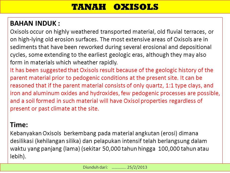 TANAH OXISOLS BAHAN INDUK : Time: