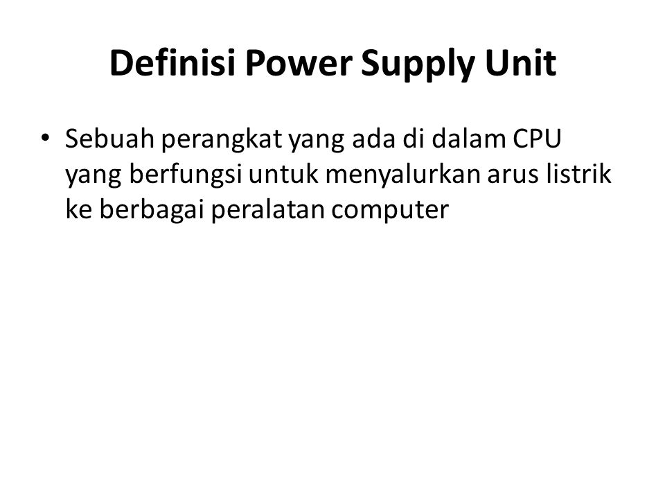 Definisi Power Supply Unit