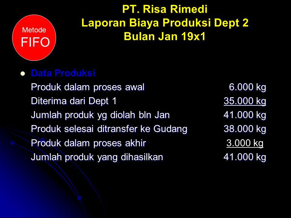 PT. Risa Rimedi Laporan Biaya Produksi Dept 2 Bulan Jan 19x1