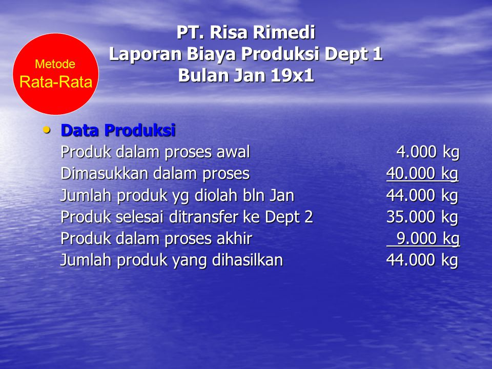 PT. Risa Rimedi Laporan Biaya Produksi Dept 1 Bulan Jan 19x1