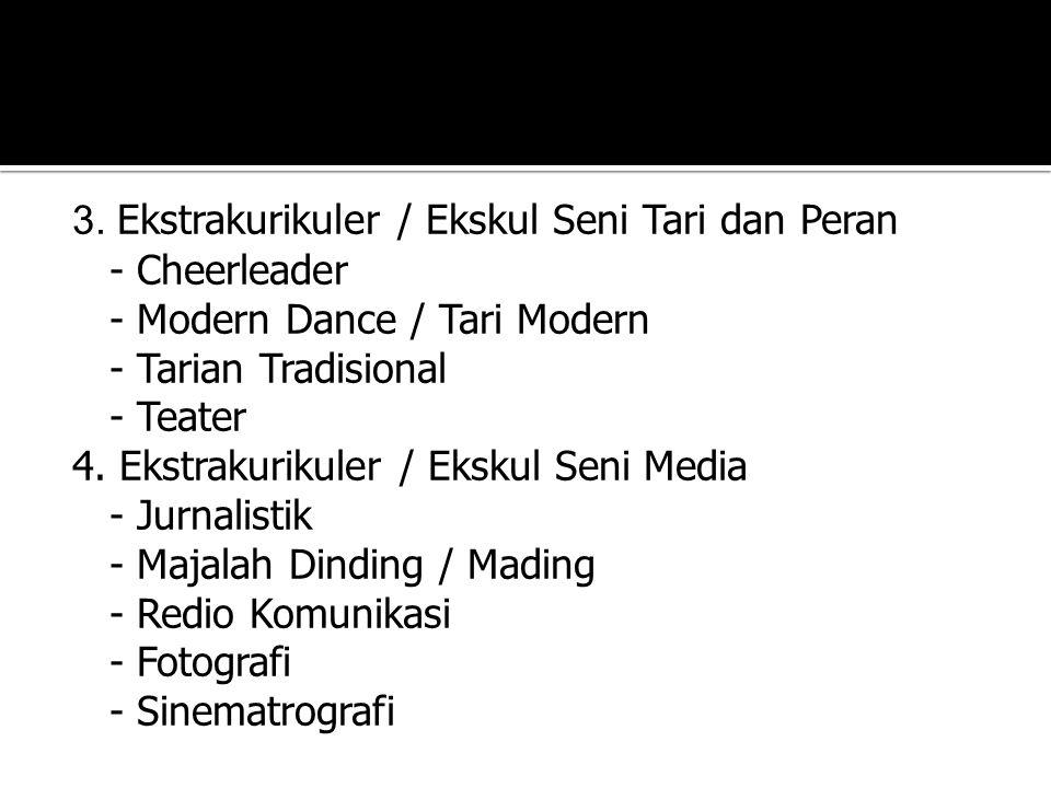 3. Ekstrakurikuler / Ekskul Seni Tari dan Peran - Cheerleader - Modern Dance / Tari Modern - Tarian Tradisional - Teater