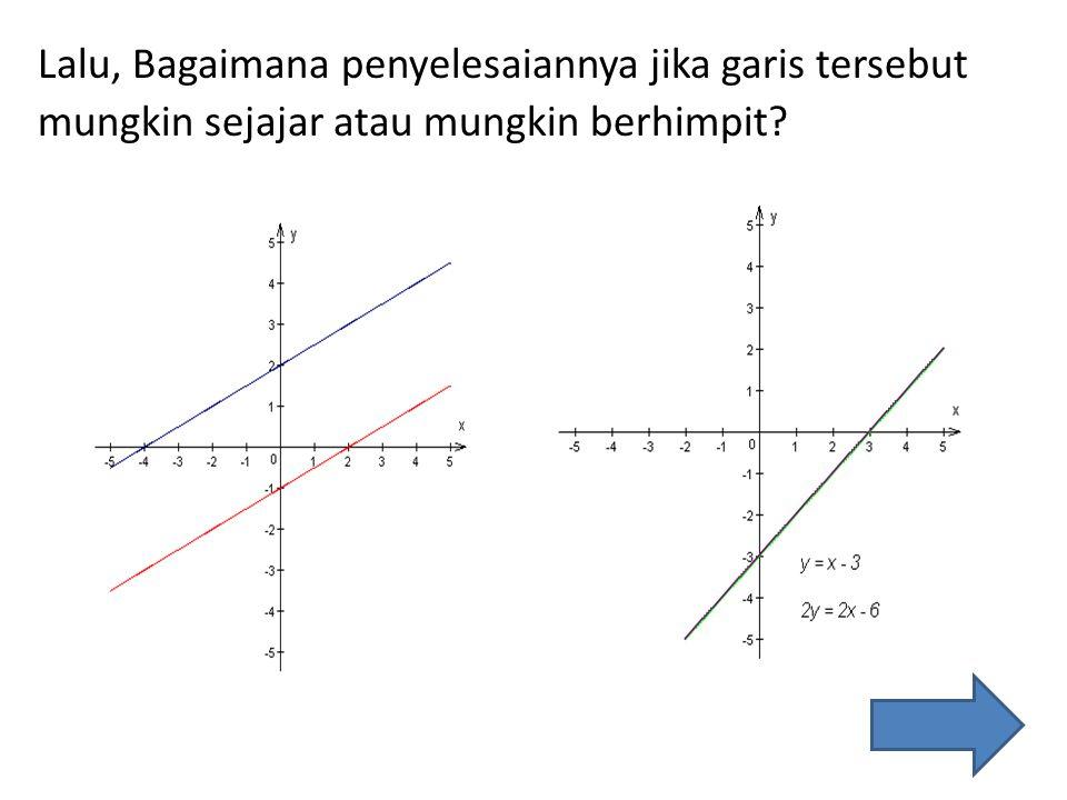 Lalu, Bagaimana penyelesaiannya jika garis tersebut mungkin sejajar atau mungkin berhimpit