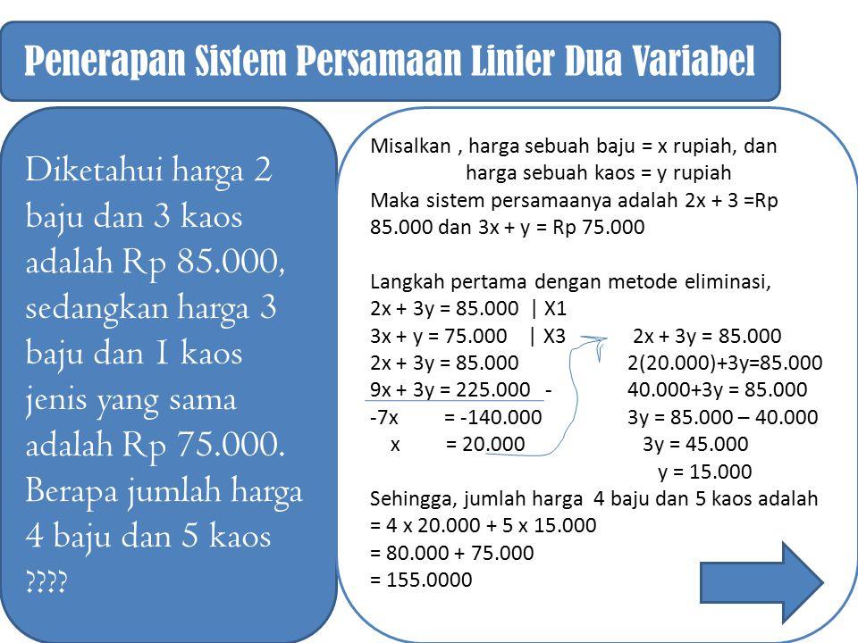 Penerapan Sistem Persamaan Linier Dua Variabel