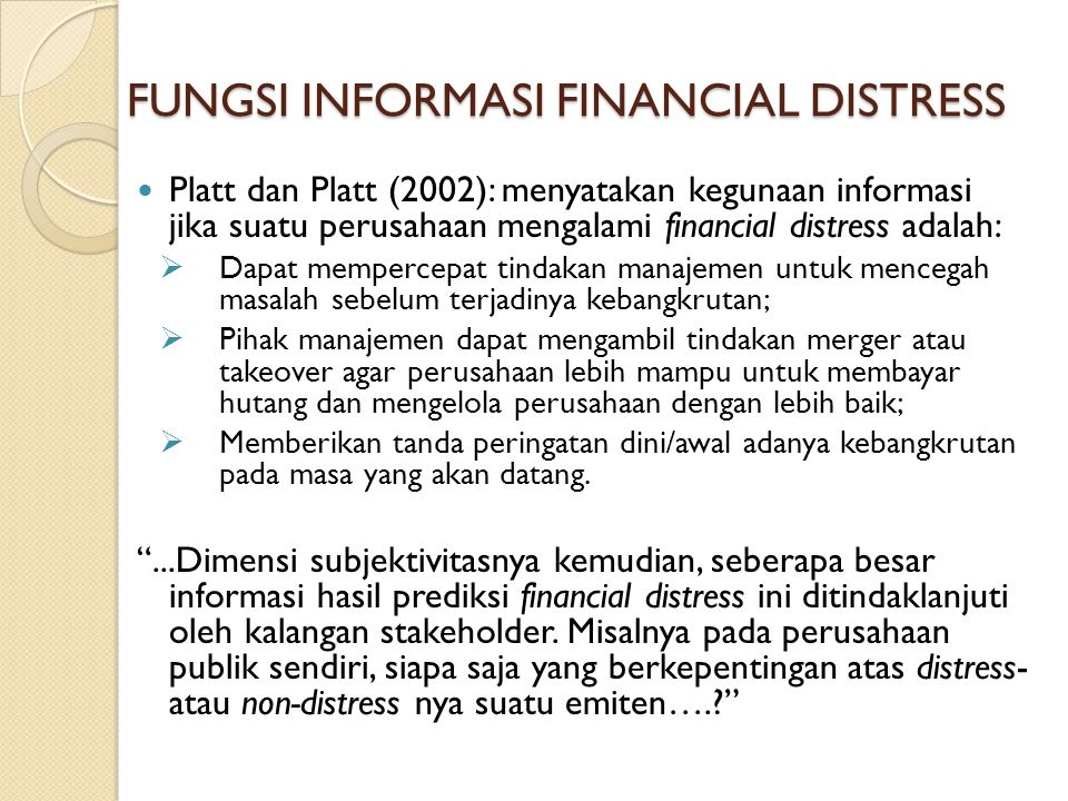 FUNGSI INFORMASI FINANCIAL DISTRESS