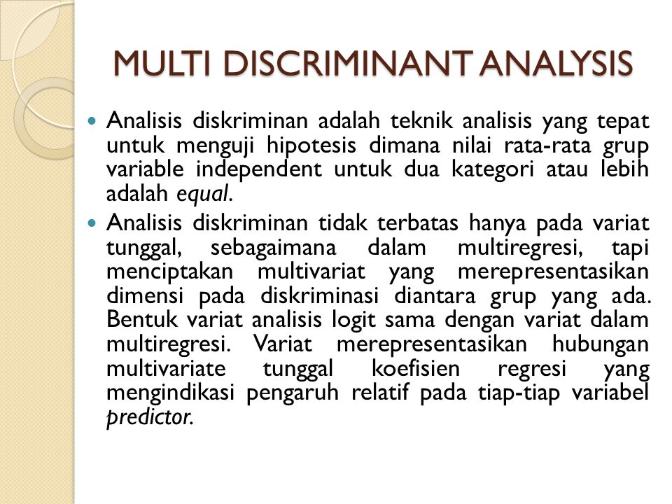 MULTI DISCRIMINANT ANALYSIS