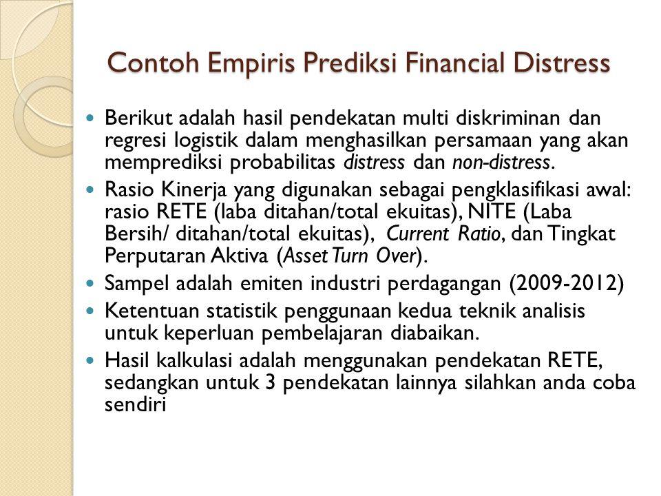 Contoh Empiris Prediksi Financial Distress