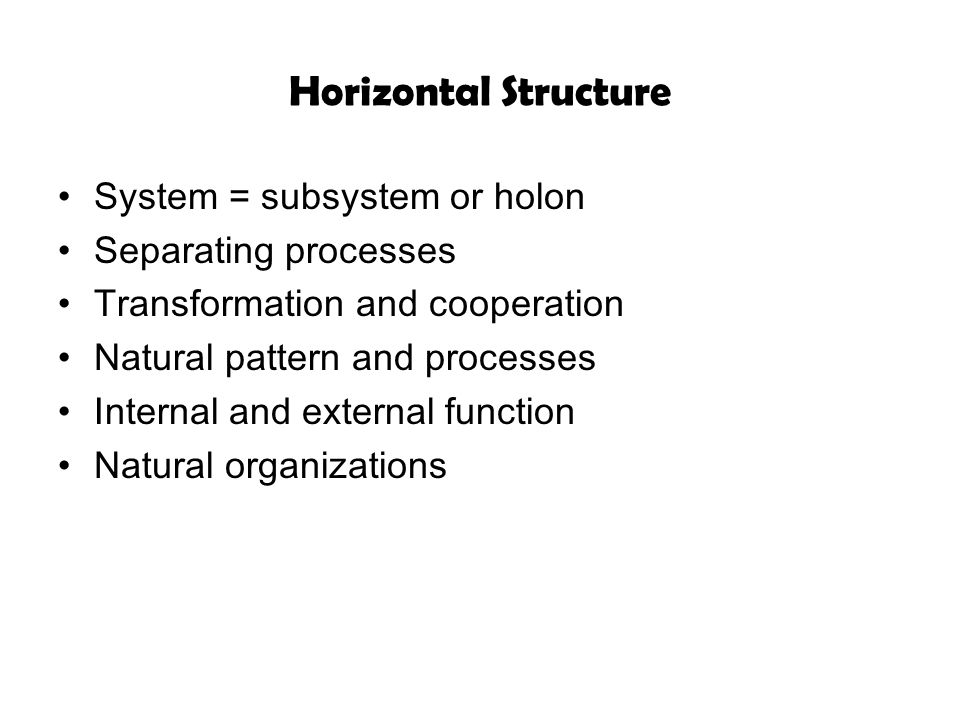 Horizontal Structure System = subsystem or holon Separating processes