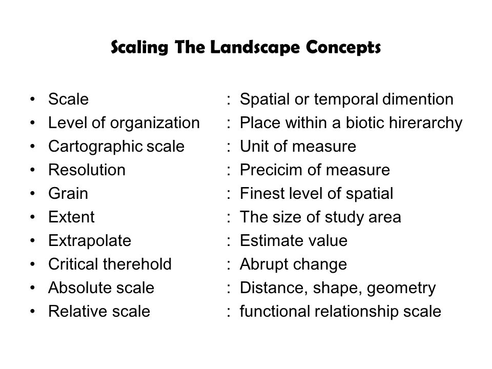 Scaling The Landscape Concepts