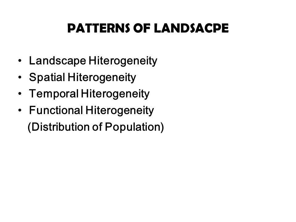 PATTERNS OF LANDSACPE Landscape Hiterogeneity Spatial Hiterogeneity