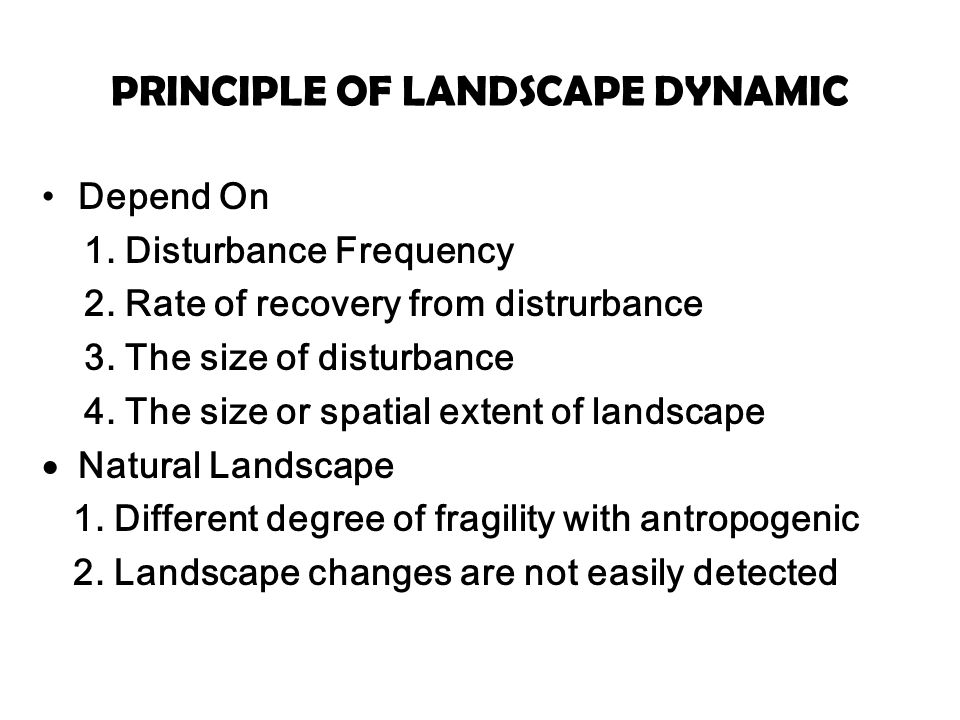 PRINCIPLE OF LANDSCAPE DYNAMIC