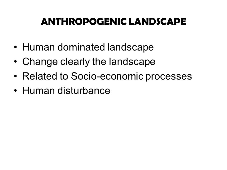 ANTHROPOGENIC LANDSCAPE