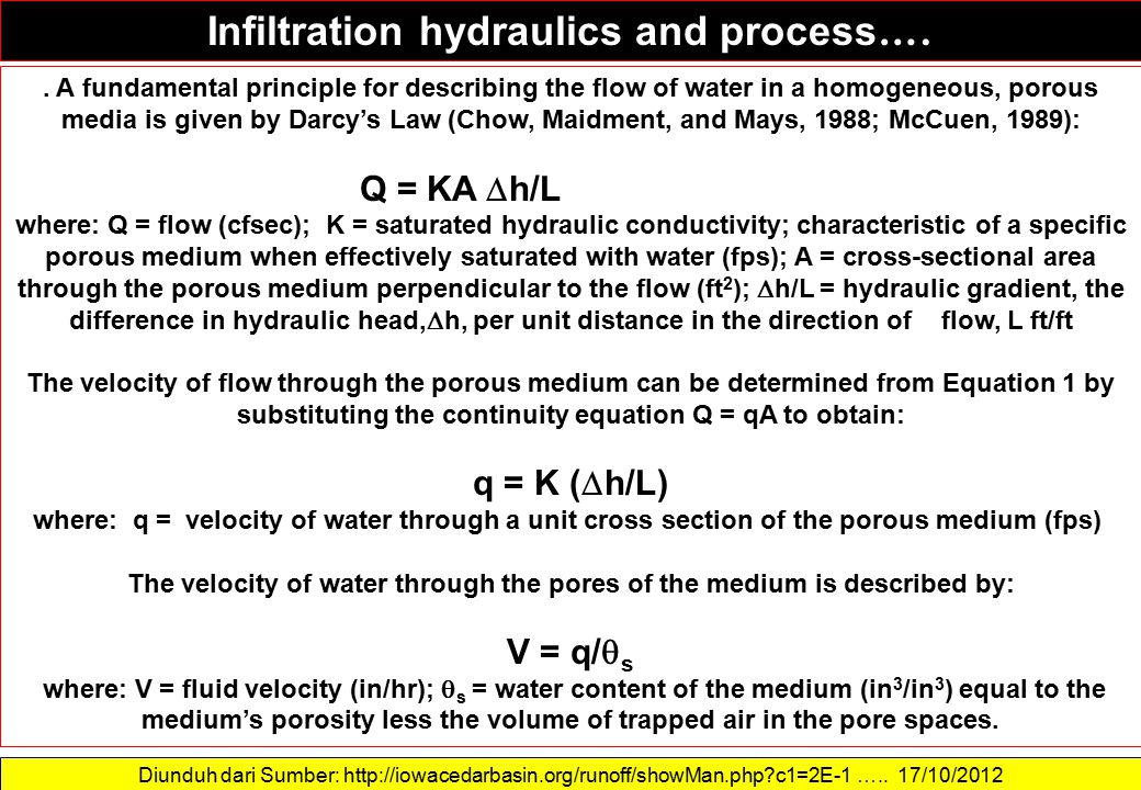 Infiltration hydraulics and process….