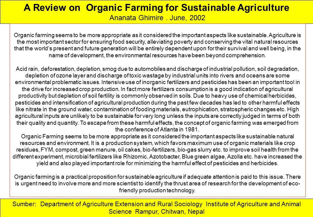 A Review on Organic Farming for Sustainable Agriculture