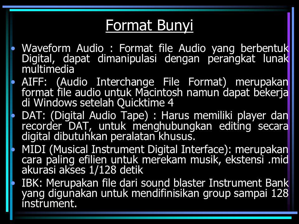 Format Bunyi Waveform Audio : Format file Audio yang berbentuk Digital, dapat dimanipulasi dengan perangkat lunak multimedia.