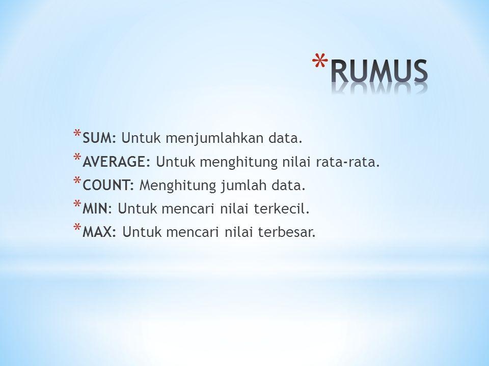 RUMUS SUM: Untuk menjumlahkan data.