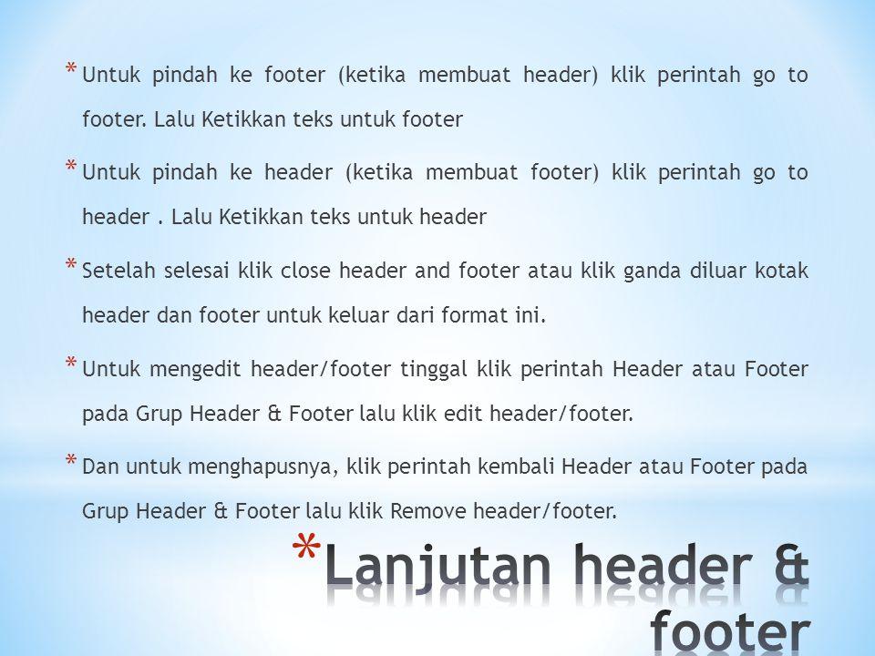 Lanjutan header & footer