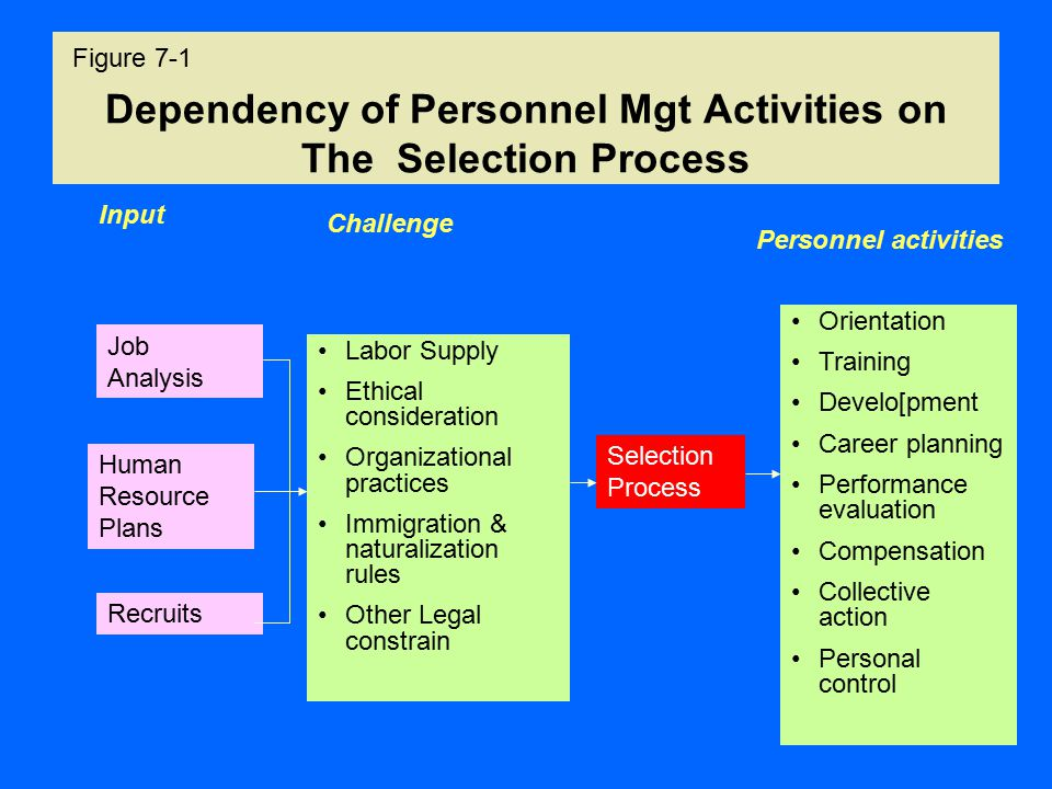 Dependency of Personnel Mgt Activities on The Selection Process