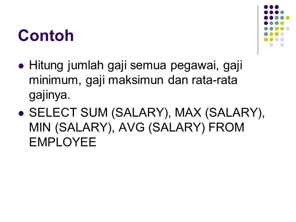 Contoh Hitung jumlah gaji semua pegawai, gaji minimum, gaji maksimun dan rata-rata gajinya.