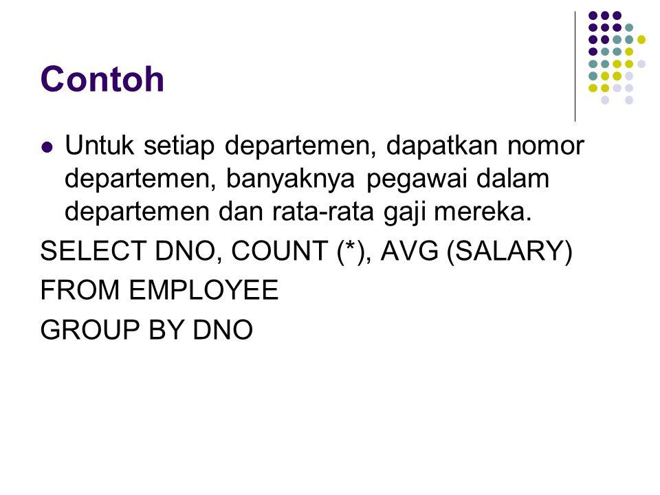 Contoh Untuk setiap departemen, dapatkan nomor departemen, banyaknya pegawai dalam departemen dan rata-rata gaji mereka.