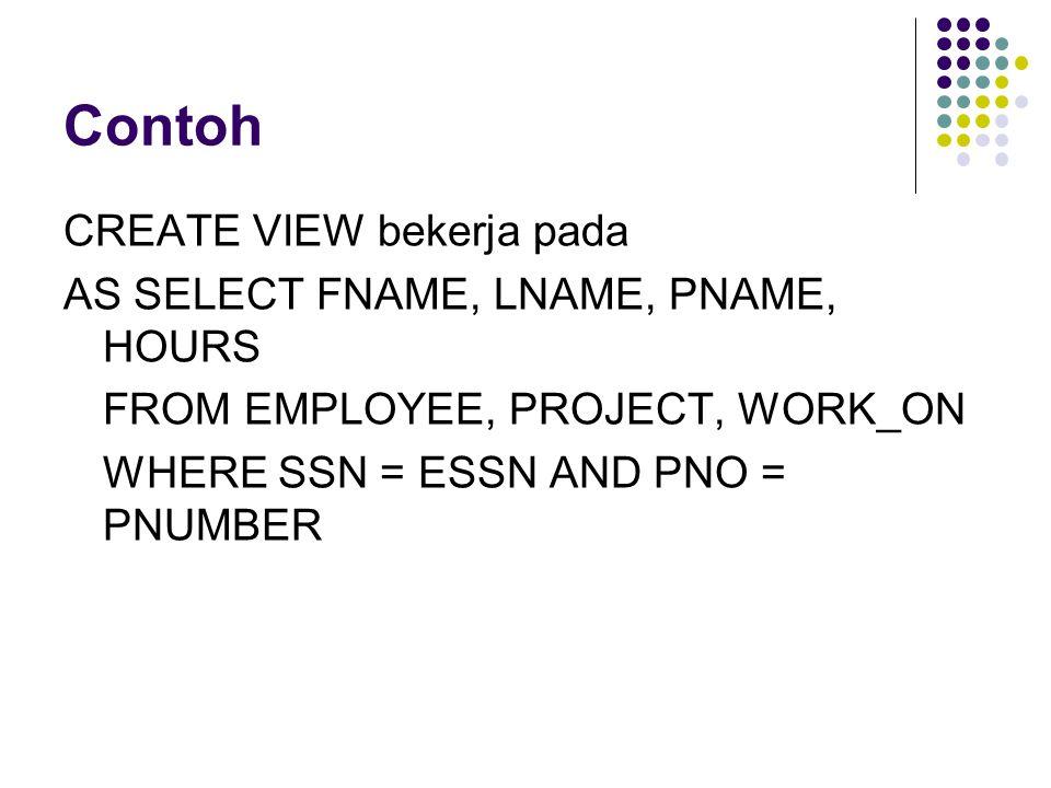 Contoh CREATE VIEW bekerja pada AS SELECT FNAME, LNAME, PNAME, HOURS