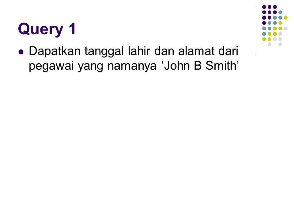 Query 1 Dapatkan tanggal lahir dan alamat dari pegawai yang namanya 'John B Smith'
