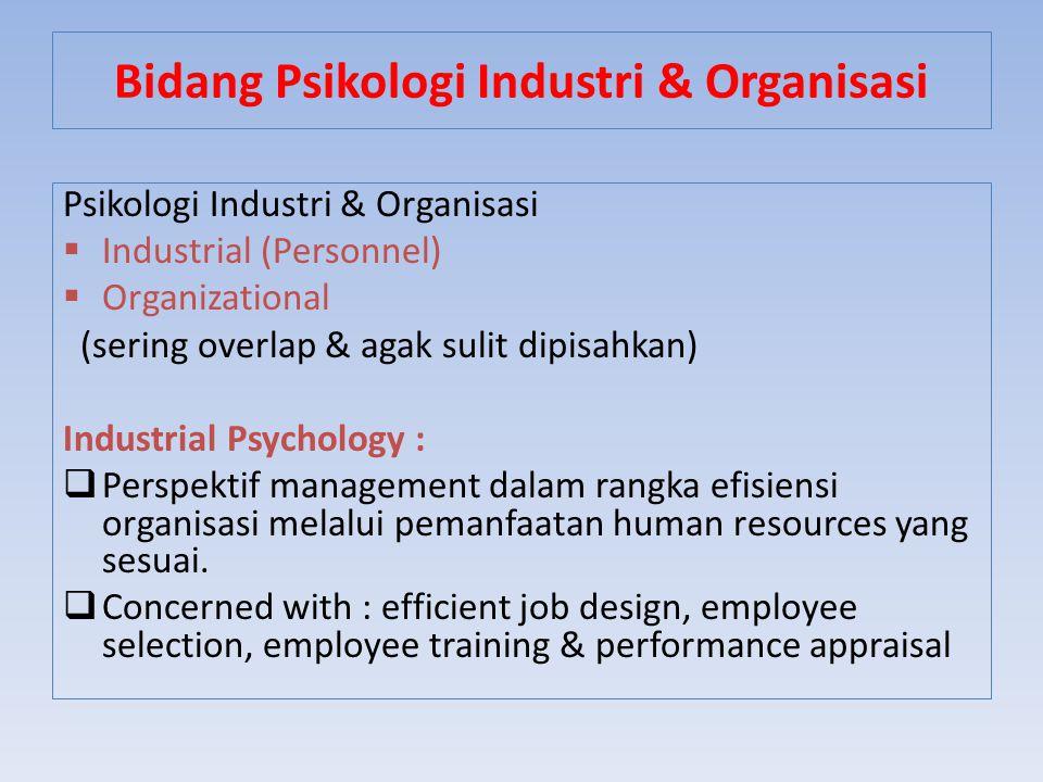 Bidang Psikologi Industri & Organisasi